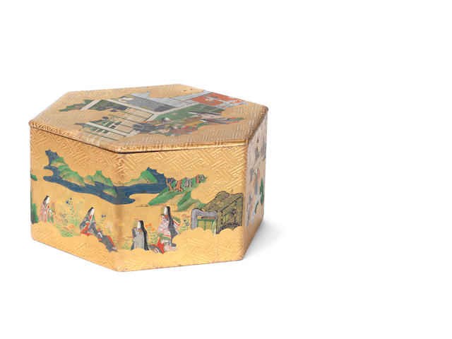 An unusual painted box and cover for kaiawase (the shell game) Late Edo Period, 18th/19th century