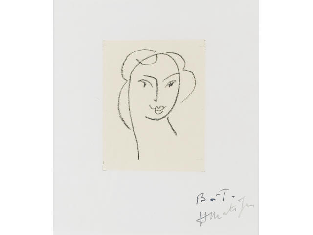 Henri Matisse (French, 1869-1954) Tête de Jeune Femme from Apollinaire Lithograph, 1952, on Arches, a proof outside the edition of 350, signed and inscribed 'BAT' in black ink, printed by Mourlot Frères, Paris, published by Editions Raisons D'Etre, Paris, 170 x 150mm (6 3/4 x 5 7/8in)(I)