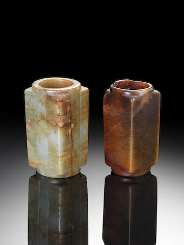 Two jade archaistic cylindrical squared vessels, cong Probably Ming Dynasty
