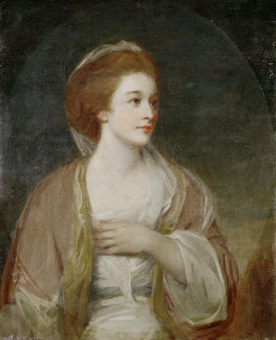 Attributed to George Romney (Beckside 1734-1802 Kendal) Portrait of a lady, supposed to be Miss Frances Woodley, half-length, in a white dress with blue sash and a pink shawl