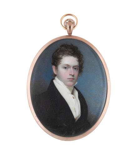 Andrew Robertson, MA (Scottish, 1772-1845) A Young Gentleman, wearing dark blue coat, cream waistcoat with gold buttons, white chemise, cream stock, gold shirt pin