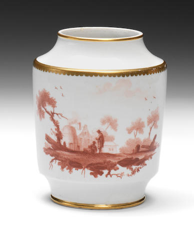 An important Neale and Co porcelain tea canister by Fidelle Duvivier, circa 1785-90