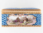 A Meissen gold-mounted blue-scale-ground snuff-box with a portrait of Ludwig VIII, Landgrave of Hessen-Darmstadt, circa 1755