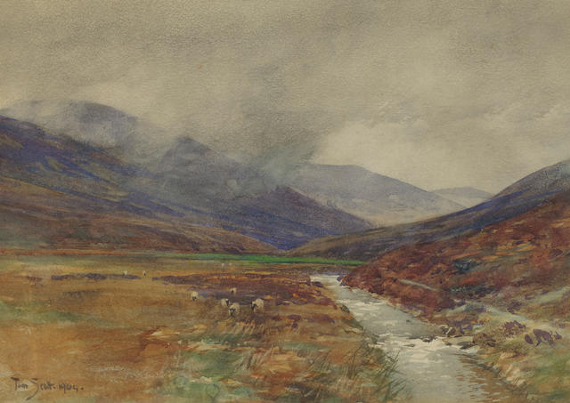 Tom Scott – Highland river landscape, watercolour