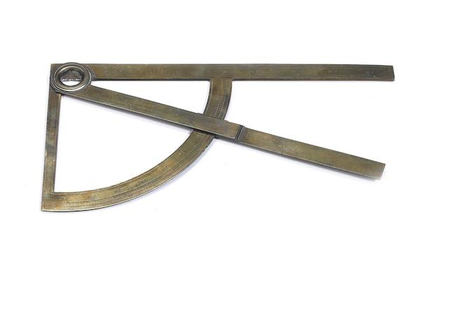 A Dominicus Luseurg brass scale and protractor