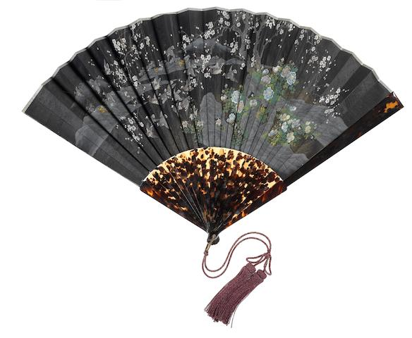 A tortoiseshell-mounted folding fan Meiji Period