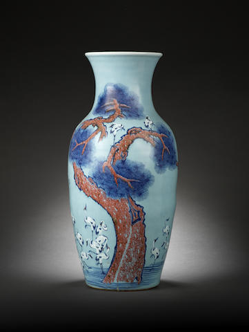 A rare large blue and copper-red baluster vase Late Qianlong/Jiaqing