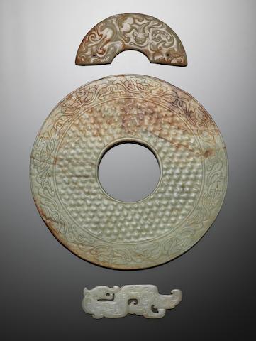 Three archaistic jades Qing Dynasty