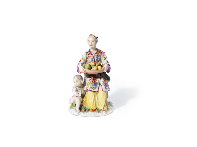 A rare Meissen figure of a Japanese woman and child, circa 1745-50
