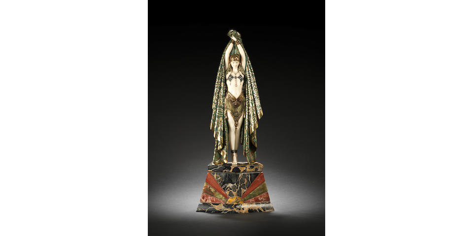 Demetre Chiparus 'Antinea' An Impressive Cold Painted Bronze and Ivory Figure of an Egyptian Dancer, circa 1930
