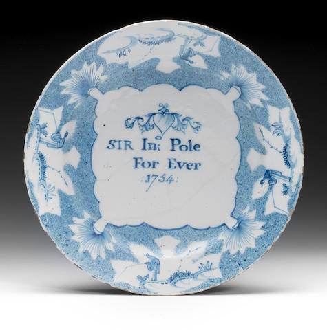 A Bristol delftware electioneering plate, dated 1754
