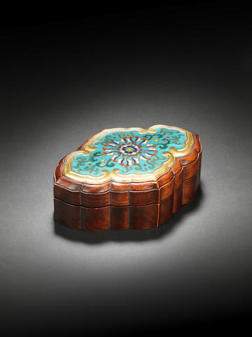 A cloisonné enamel and huanghuali lobed lozenge-shaped box and cover 18th century