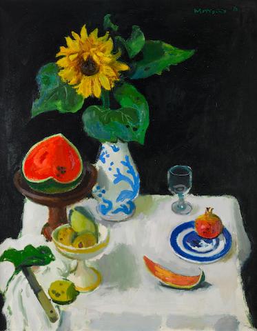 Alberto Morrocco, OBE RSA RSW RP RGI LLD D Univ (British, 1917-1998) Still Life with Melon 101.6 x 81.8 cm. (40 x 32 1/4 in.)