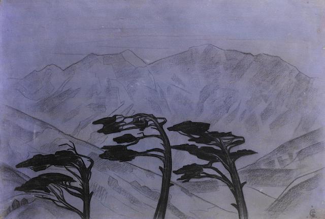 Svetoslav Roerich Landscape wtih Pine trees