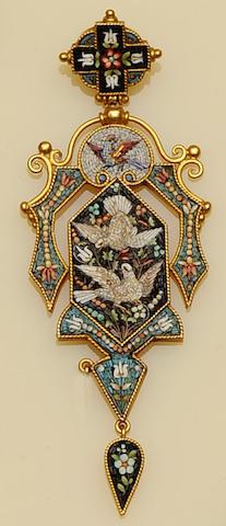 A 19th century micro-mosaic pendant