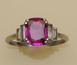 An Art Deco diamond and ruby ring