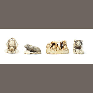 Seven Japanese ivory netsuke and one boxwood netsuke Late 19th century