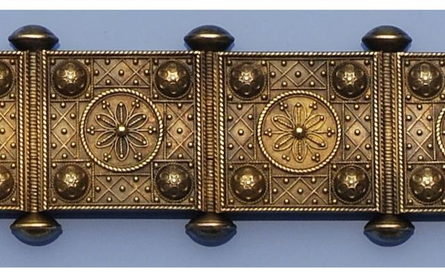 A Victorian gold Archaeological Revival panel bracelet