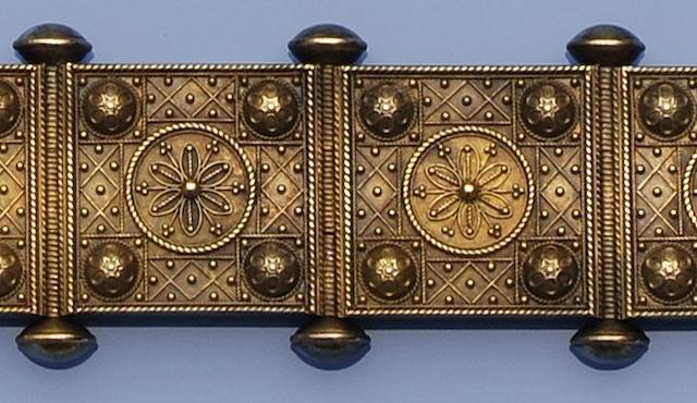 A Victorian gold Archaeological Revival panel bracelet