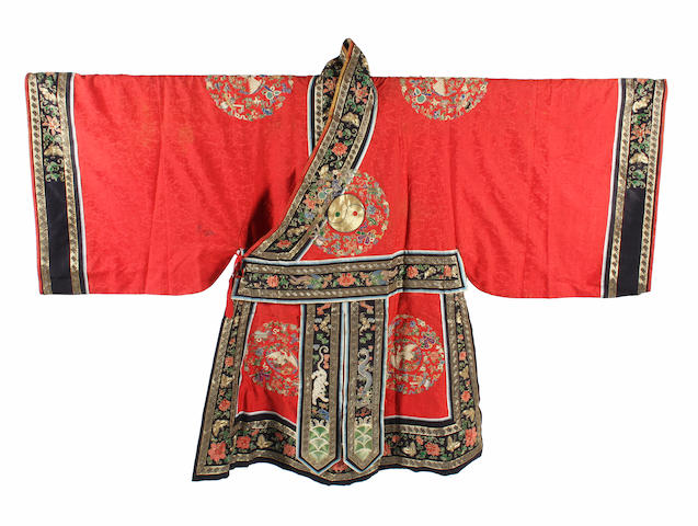 A Chinese late 19th century embroidered robe