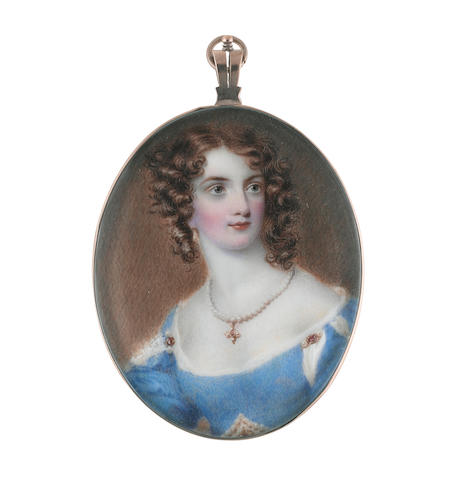 Samuel John Stump (British, 1778-1863) A Lady, wearing décolleté blue dress, slashed at the shoulders to reveal white, pearls and rubies at her waist and shoulders, her necklace with a gold and ruby pendant suspended from her neck, pearl pendent earrings, her red hair curled and worn loose