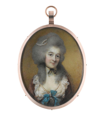 Horace Hone, ARA (Irish, circa 1756-1825) A Lady, wearing dark red dress with white lace collar and slip, a long pearl necklace suspended from her neck and fastened at her corsage with a large blue ribbon bow supporting a portrait miniature within a diamond frame, a fine black choker tied at the front of her neck, strands of pearls in her powdered wig