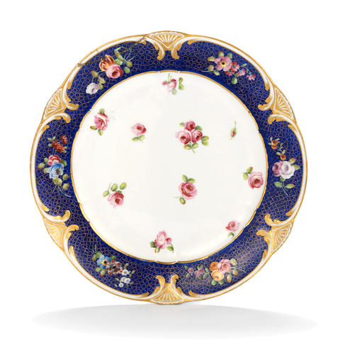 A Sèvres blue-ground plate, circa 1769