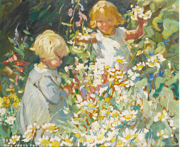 Dorothea Sharp (British, 1874-1955) Children in the Garden 38 x 46 cm. (15 x 18 in.)