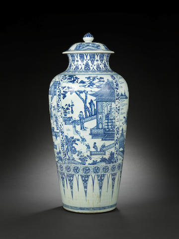 A rare and large blue and white 'soldier' vase and cover Kangxi