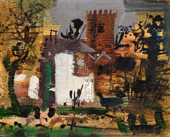 (n/a) John Piper C.H. (British, 1903-1992) Church landscape 20 x 25.5 cm. (8 x 10 in.)