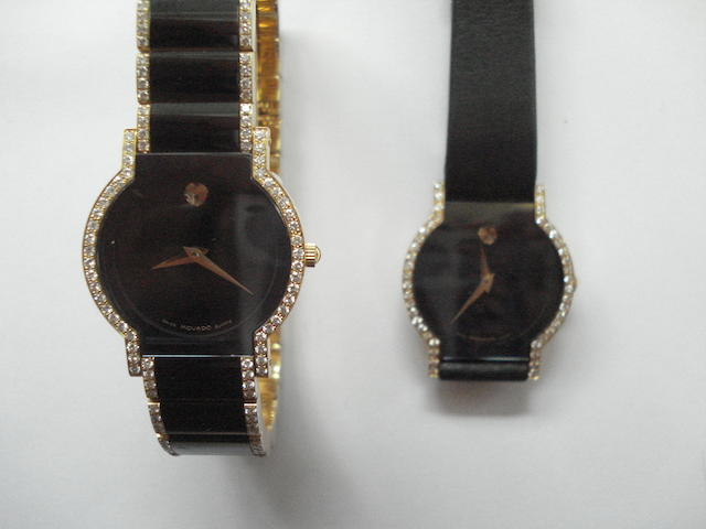 A lot of two various Movado 18ct gold quartz wristwatches