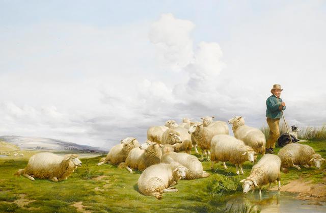 Thomas Sidney Cooper, RA (British, 1803-1902) Shepherd with sheep