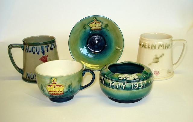 A Group of William Moorcroft Commemorative Ware  Circa 1911-1937