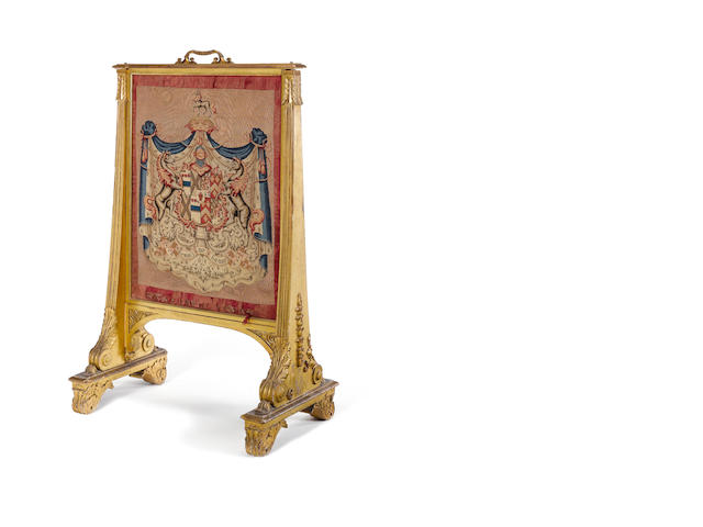 A William IV carved giltwood firescreen