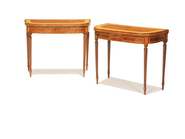A pair of late George III mahogany, satinwood banded and rosewood crossbanded card tables