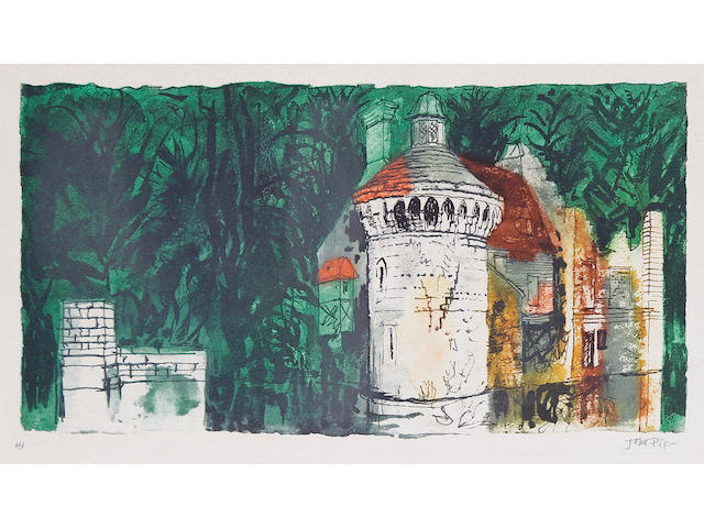 John Piper C.H. (British, 1903-1992), John Piper 'Scotney Castle, Kent' (set of six) Scotney Castle (Levinson  The complete set of six etchings and aquatint in colours, 1983, on Arches, each signed and inscribed 'a/p' in pencil, aside from the edition of 50, printed and published by Kelpra Studios, London, with full margins, 212 x 405 mm (8 1/4 x 16 in) (PL).