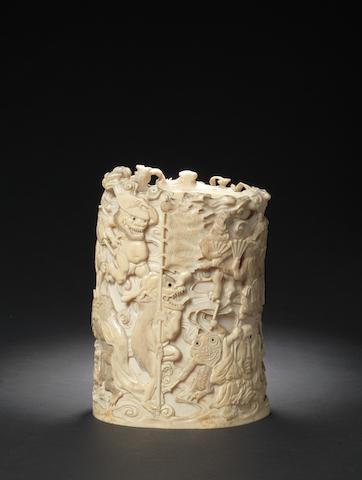An ivory tusk vase Meiji Period