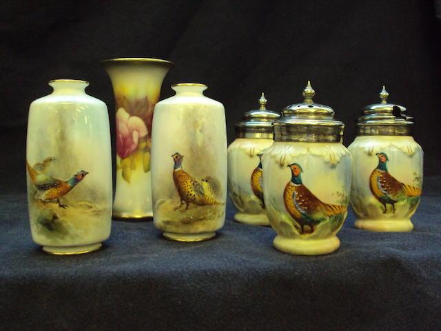 Three Royal Worcester vases
