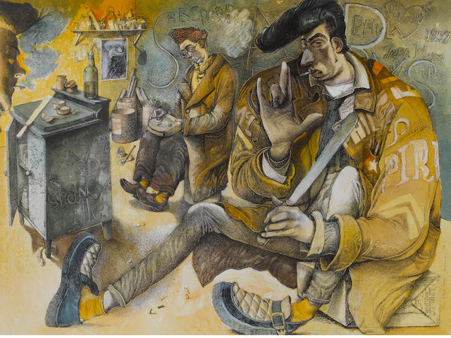 John Byrne (British, 1940) The Slab Boys 45.5 x 60.7 cm. (18 x 24 in.)