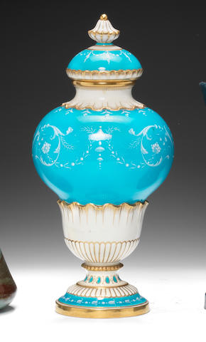 A Minton 'Limoges Enamel' vase and cover