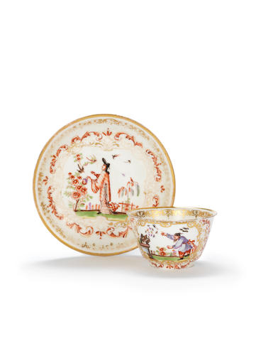 A Meissen teabowl and saucer, circa 1725 (worm, a few chips)