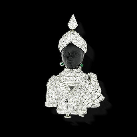 A gem-set and diamond brooch, by Missiaglia