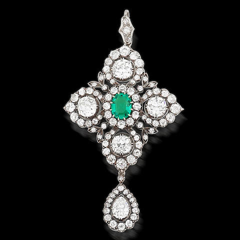 An emerald and diamond brooch/pendant, (3)