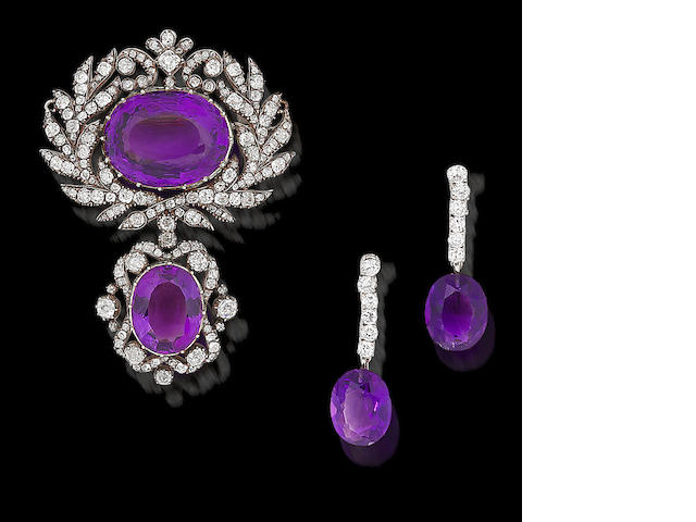 An amethyst and diamond brooch, (2)