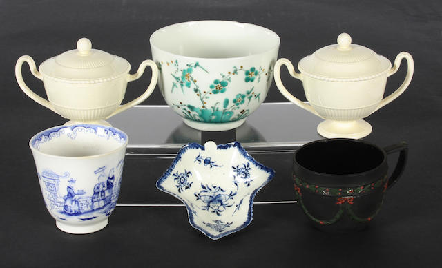 A pair of Wedgwood creamware small vases and covers, a black basalt cup, a Derby pickle dish, a Chelsea-Derby sucrier and an English porcelain beaker from the Watney Collection 18th and 19th Century.