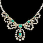 A emerald and diamond necklace/tiara/bracelet combination,