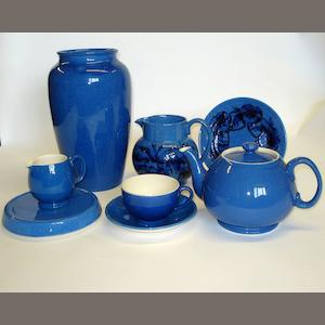 A collection of William Moorcroft 'Cornflower' powder blue items
