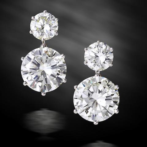 An impressive pair of diamond pendent earrings