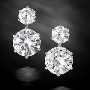 An impressive pair of diamond pendent earrings