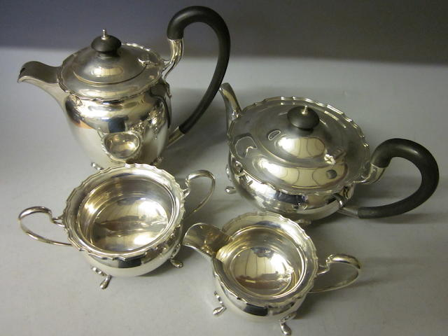 A four piece tea service,  by Walker and Hall,  Sheffield 1946,  (4)